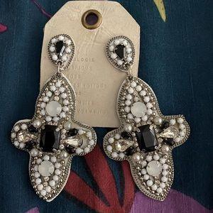 New Anthropologie Black and White Cross Earrings